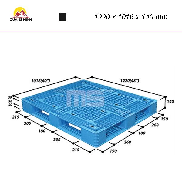 Pallet nhua kho N4 4840LA 1220 x 1016 x 140 mm (2)